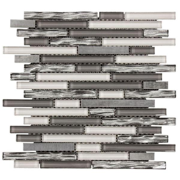 Waves of Grey 11.875 in. x 11.375 in. Interlocking Glossy Glass/Metal Mosaic Tile (0.938 sq. ft./Each)
