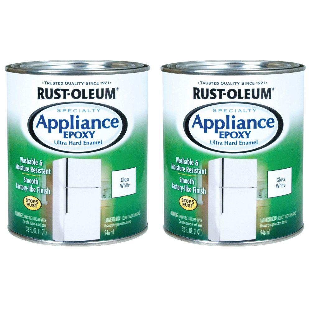 Rust-Oleum Specialty 1 Qt. White Gloss Appliance Epoxy Paint (2-Pack)-DISCONTINUED