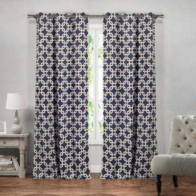 Kristin 84 in. L x 37 in. W Polyester Blackout Curtain Panel in Navy (2-Pack)