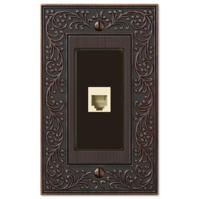 English Garden 1 Gang Phone Metal Wall Plate - Aged Bronze