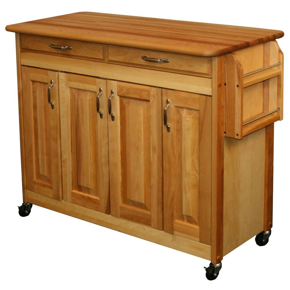 Merveilleux Catskill Craftsmen Natural Kitchen Cart With Butcher Block Top