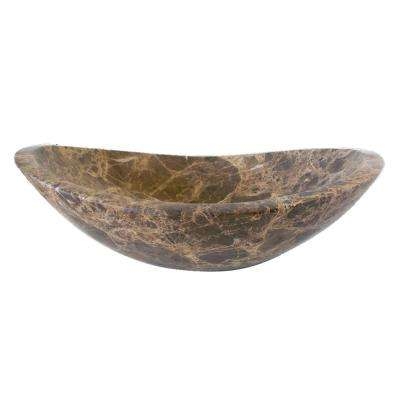 Stone Canoe Vessel Sink in Honed Dark Emperador Marble