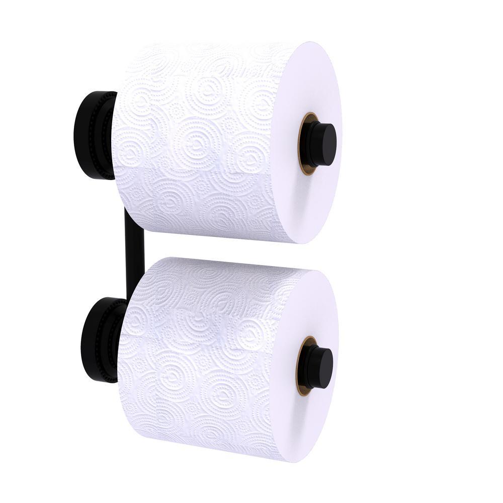 Dottingham 2-Roll Reserve Roll Toilet Paper Holder in Matte Black
