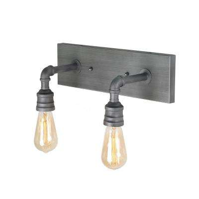 2-Light Aged Silver Bath Lighting Vanity Light