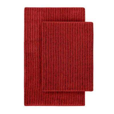 Sheridan Chili Pepper Red 21 in. x 34 in. Washable Bathroom 2-Piece Rug Set