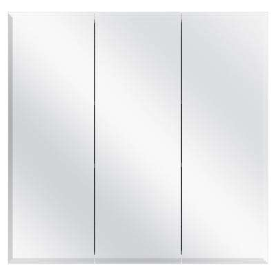 30-3/8 in. W x 30 in. H Frameless Surface-Mount Tri-View Bathroom Medicine Cabinet