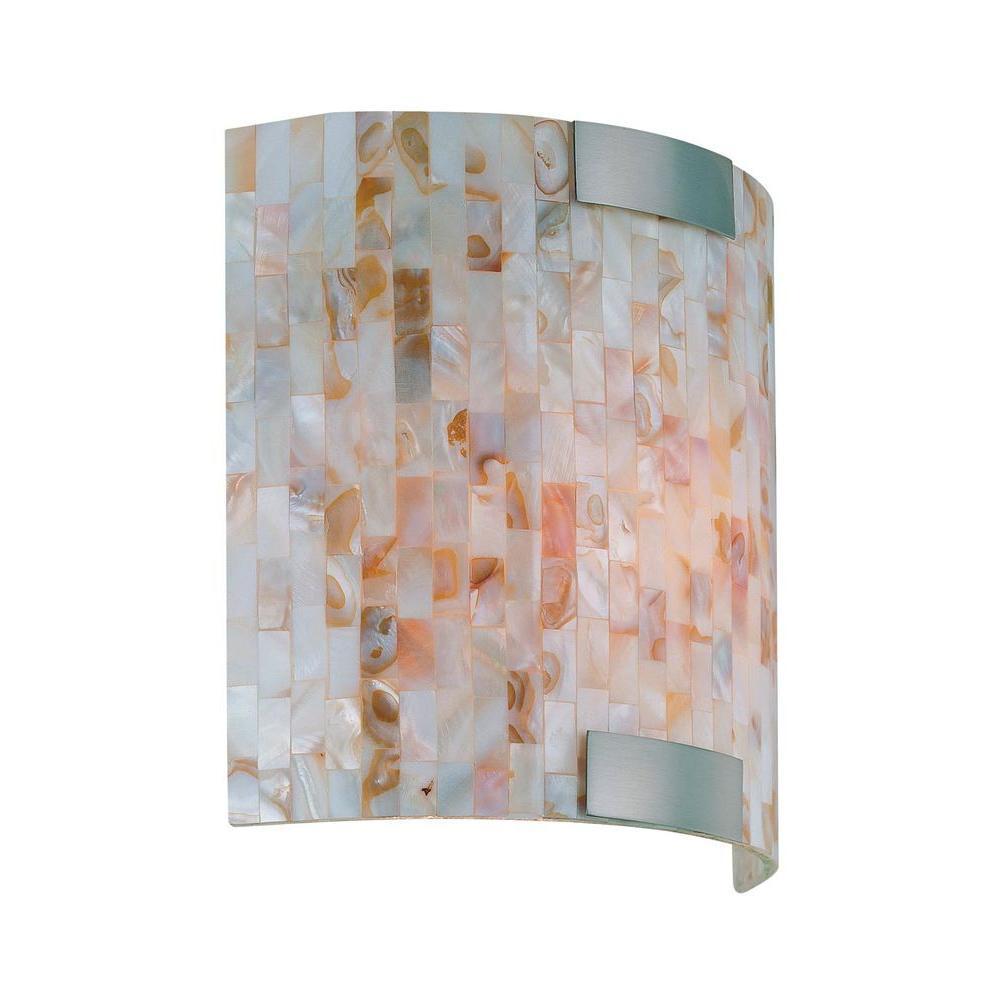 Ramona 1-Light Steel Sconce with Mosaic Design Shell Shade