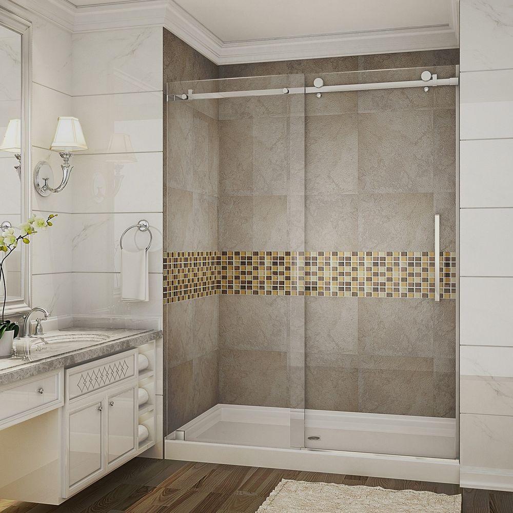 Moselle 60 in. x 77.5 in. Completely Frameless Sliding Shower Door