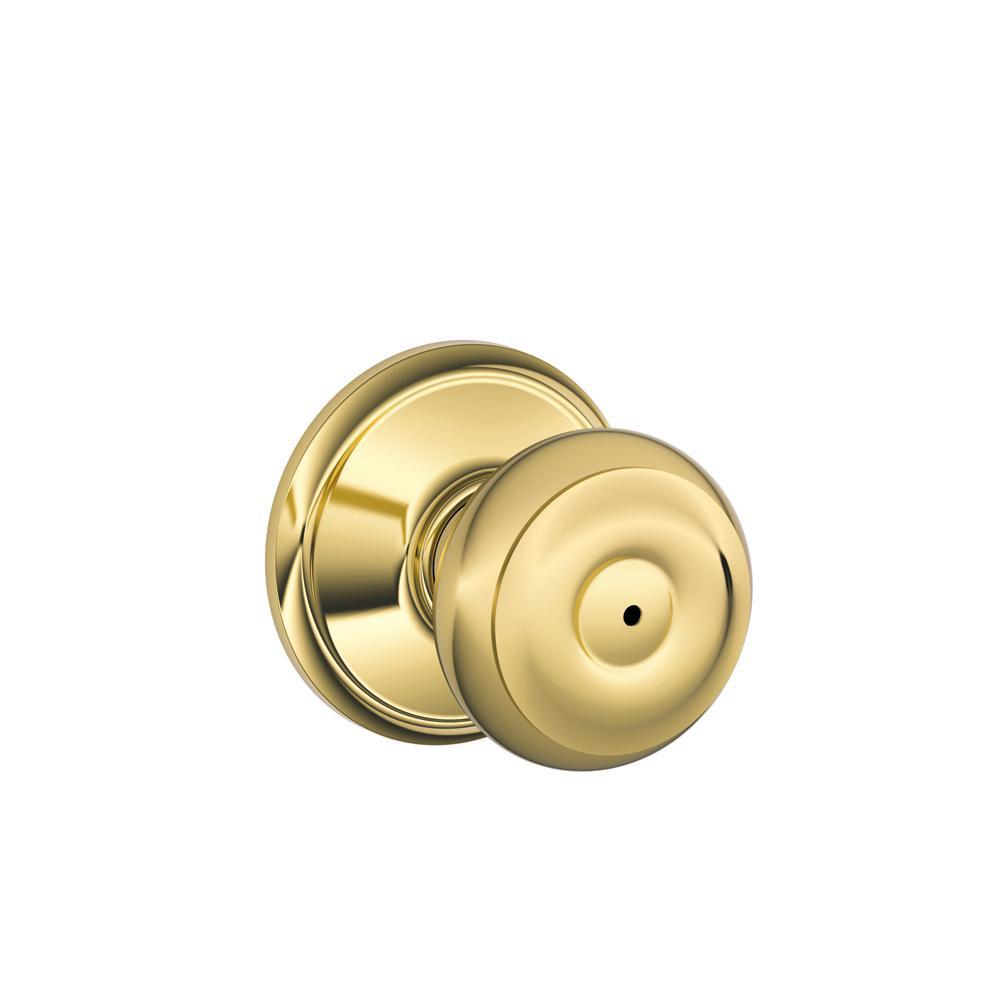 Georgian Bright Brass Privacy Bed/Bath Door Knob