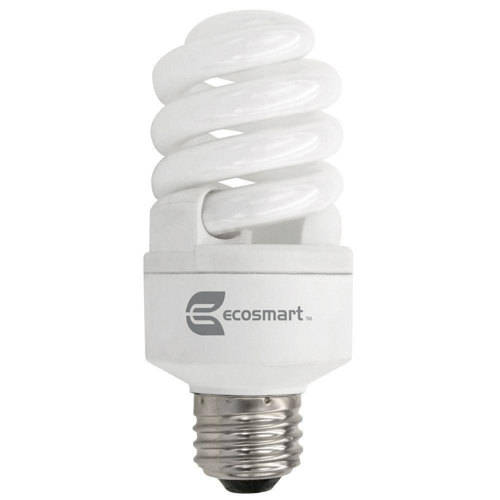 EcoSmart 60W Equivalent Daylight (5000K) Spiral Dimmable CFL Light Bulb (2-Pack)
