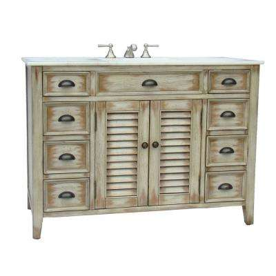 Palm Beach 46.5 in. W x 21.75 in. D Vanity in Distressed Beige with Marble Vanity Top in White with White Basin