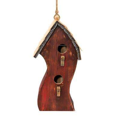 16 in. Tall Alpine Red Swirly Wooden Birdhouse