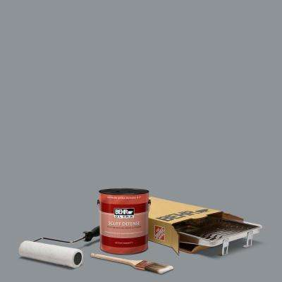 1 gal. #PPU18-04 Dark Pewter Ultra Extra Durable Flat Interior Paint and 5-Piece Wooster Set All-in-One Project Kit