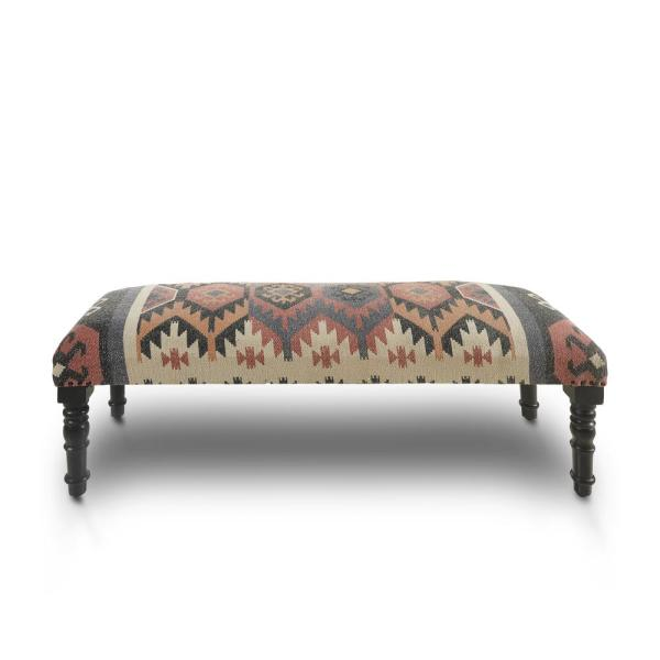 Southwest Bohemian Red/Multi-Color Indoor Bench