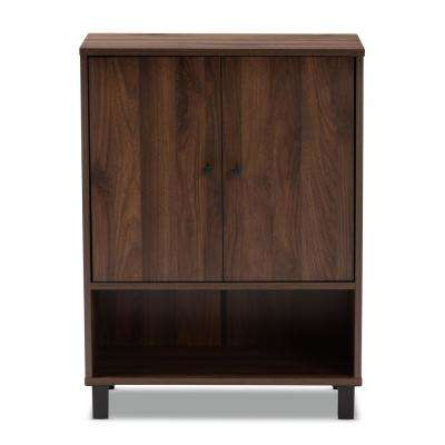 Rossin 32 in. H x 24 in. W 8-Pair Walnut Wood Shoe Storage Cabinet
