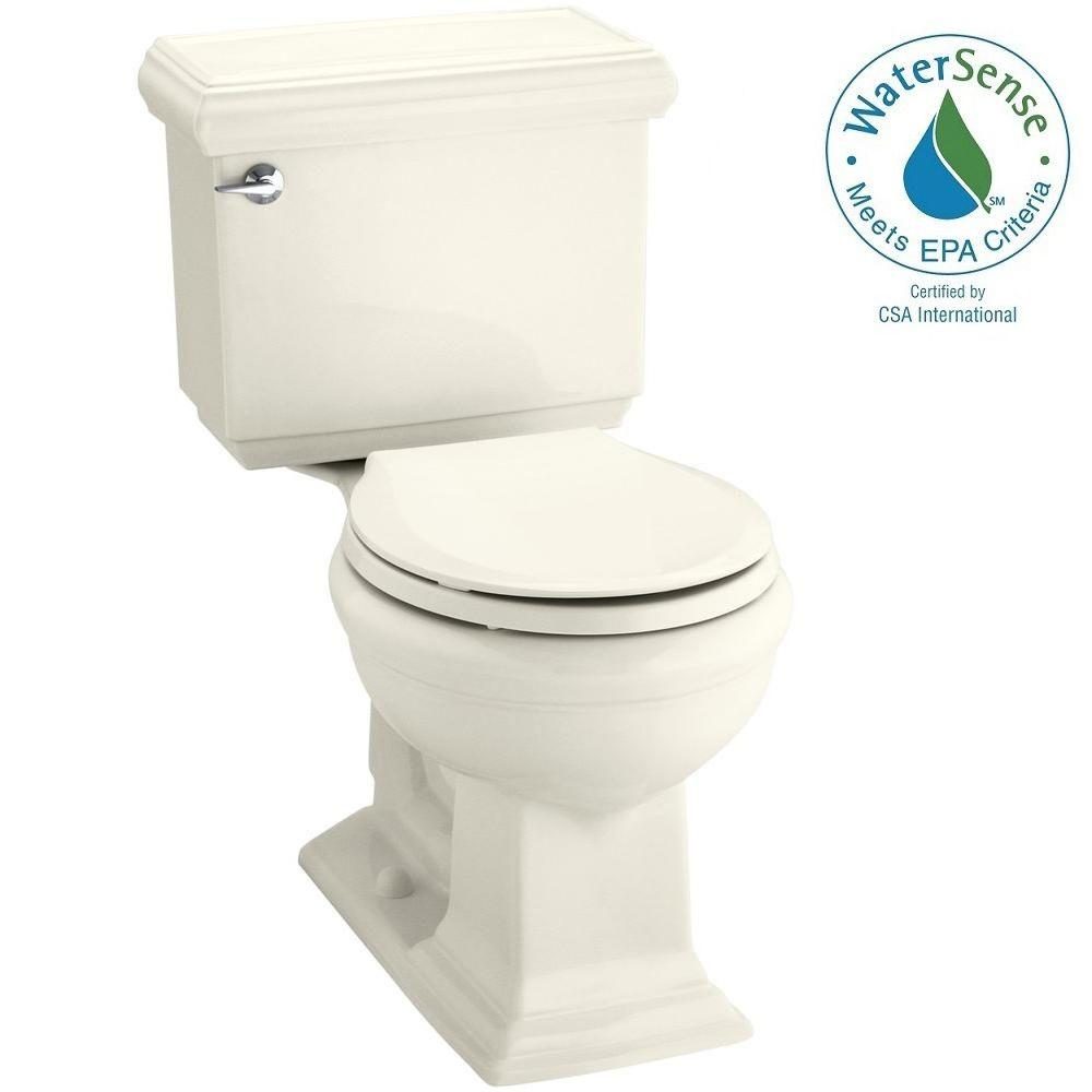 KOHLER Memoirs Classic 2-piece 1.28 GPF Round Toilet with AquaPiston Flushing Technology in Biscuit