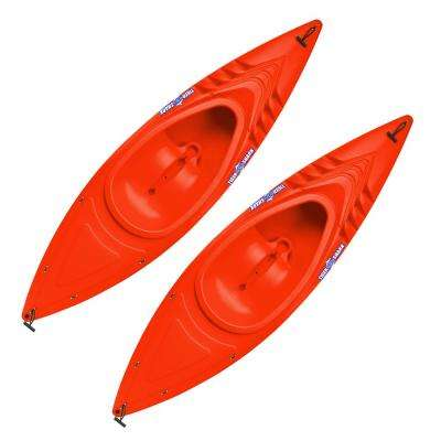 Tiger Shark Series 9 ft. Orange Sit-in Kayak with Dry-Ride Wave Breaker Design (2-Pack)