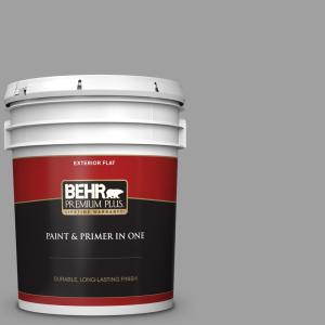 Behr Premium Plus 5 Gal T11 1 Grayve Yard Flat Exterior Paint And Primer In One 440005 The Home Depot