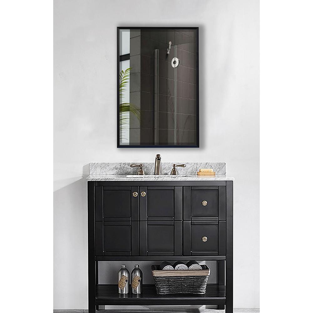 33.125 in. x 27.125 in. Ebony Metal Framed Beveled Vanity/Wall Mirror