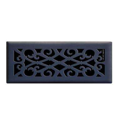 4 in. x 12 in. Elegant Scroll Floor Register in Matte Black