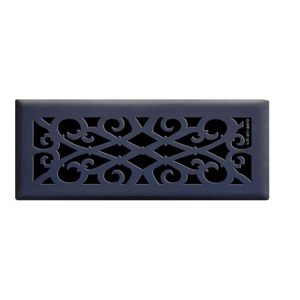 Elegant Scroll 4 in. x 12 in. Steel Floor Register in Matte Black
