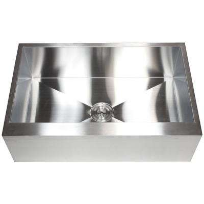 Farmhouse Flat Apron Front 33 in. x 21 in. x 10 in. Stainless Steel 16-Gauge Single Bowl Zero Radius Kitchen Sink