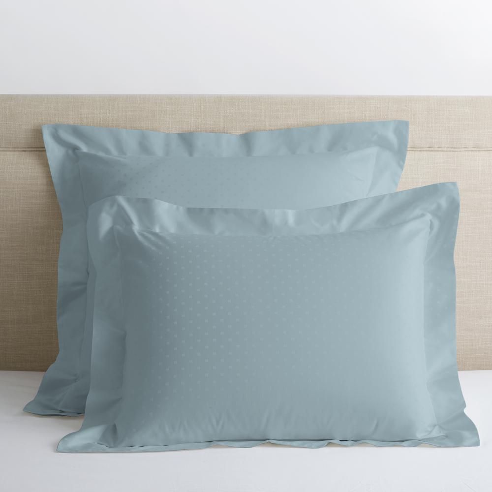 Legends Luxury Dot Blue Haze 500-Thread Count Cotton Sateen Standard Sham
