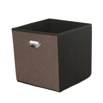 12.8 in. x 12.8 in. x 12.8 in. Collapsible Espresso Linen Storage Cube