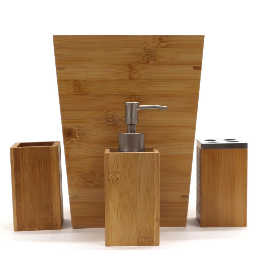 Redmon 4-Piece Bathroom Accessory Set in Bamboo