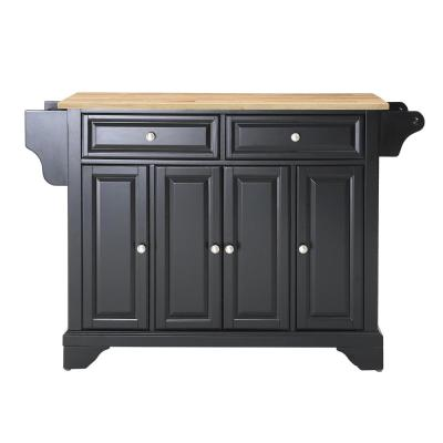 Lafayette Black Kitchen Island with Wood Top