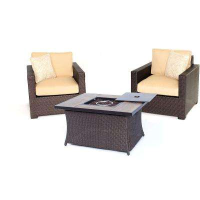 Metropolitan Brown 3-Piece All-Weather Wicker Patio LP Gas Fire Pit Chat Set with Sahara Sand Cushions
