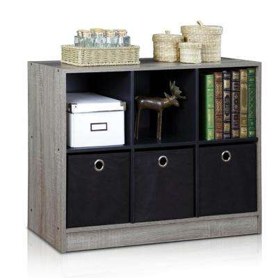 Basic French Oak Grey 6-Cube Bookcase with Storage Bins