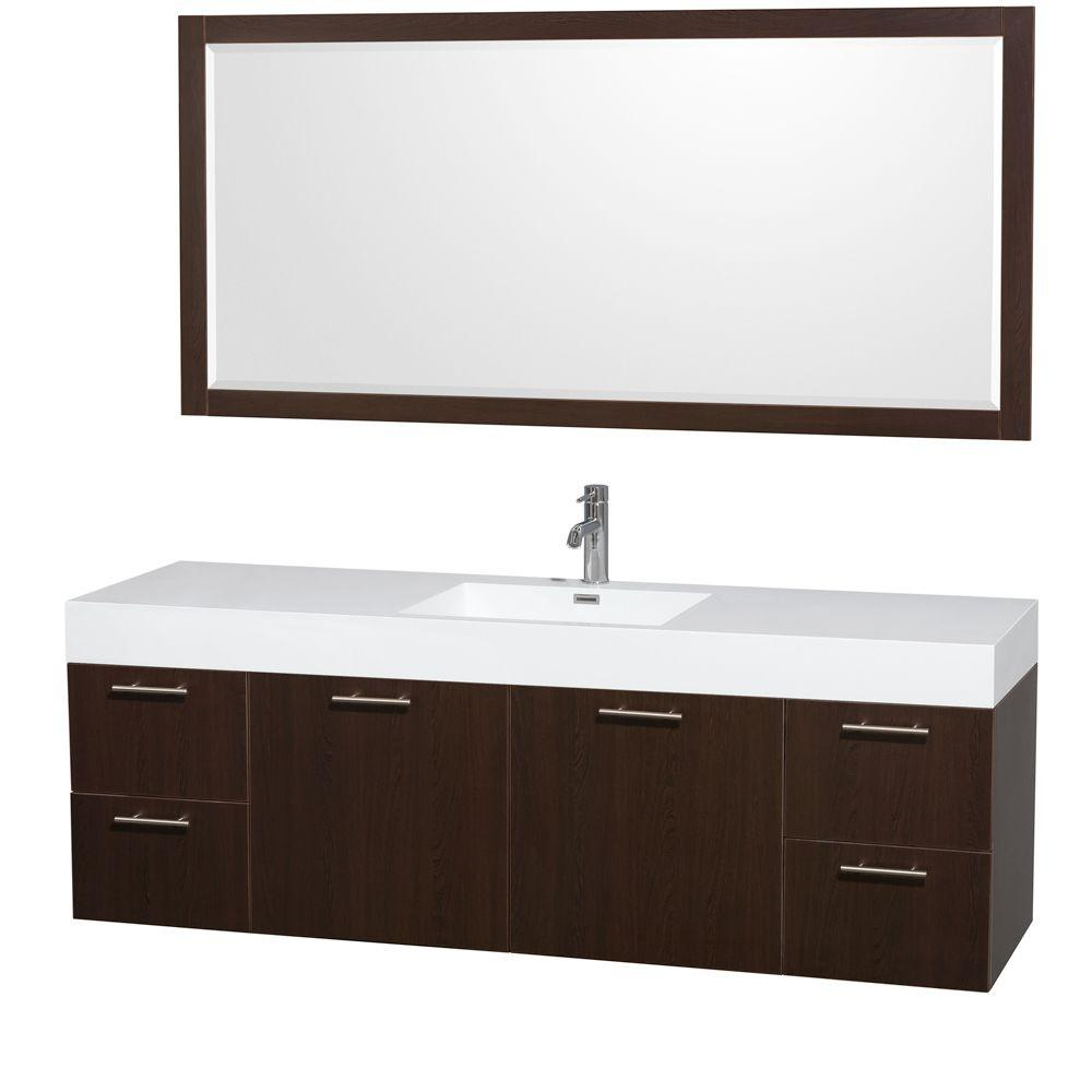 Wyndham Collection Amare 72 in. Vanity in Espresso with Acrylic-Resin Vanity Top in White, Integrated Sinks and 70 in. Mirror