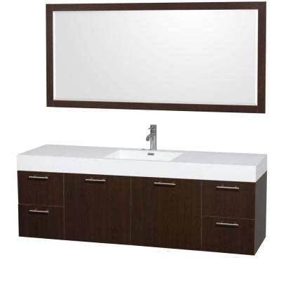 Amare 72 in. Vanity in Espresso with Acrylic-Resin Vanity Top in White, Integrated Sinks and 70 in. Mirror