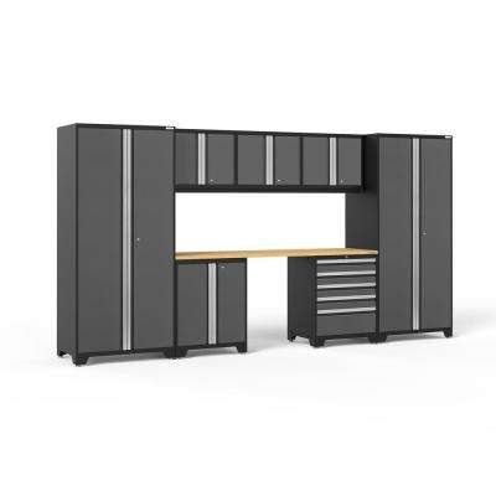 Pro 3.0 156 in. W x 83.25 in. H x 24 in. D 18-Gauge Welded Steel Bamboo Worktop Cabinet Set in Gray (8-Piece)