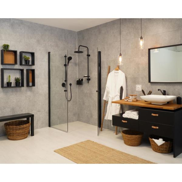 Innovera Decor By Palram 15 7 In X 24 4 In Tongue Groove Decorative Pvc Bathroom And Shower Wall Tiles In Urban Cement Light Gray 8 Piece 706016 The Home Depot