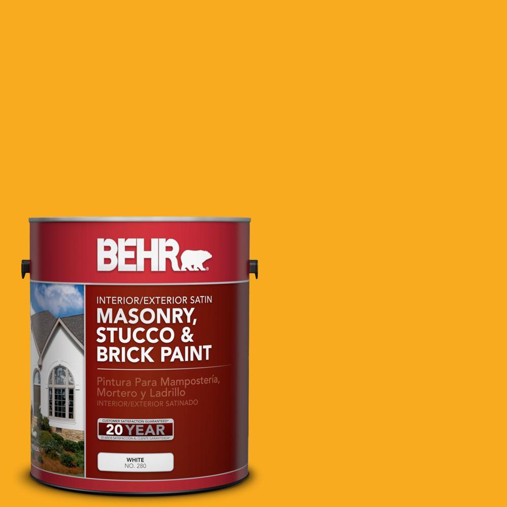 1 gal. #P270-7 Sunny Side Up Satin Interior/Exterior Masonry, Stucco and Brick Paint