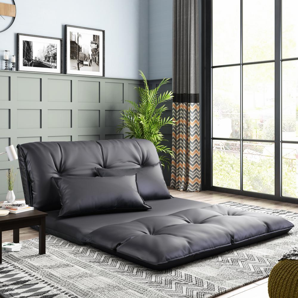 Sofa Bed Black PU Adjustable Folding Futon with 2-Pillows