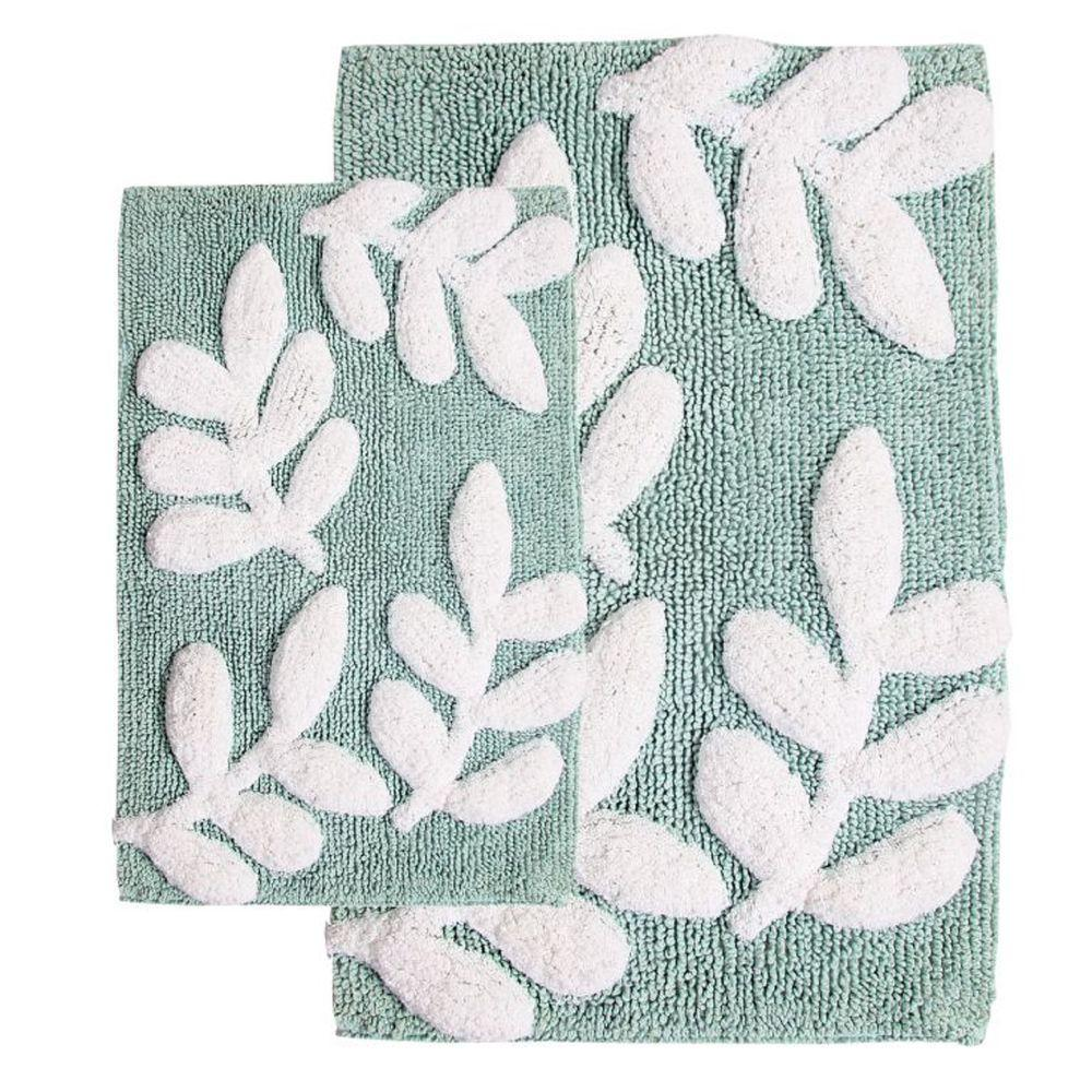 Chesapeake Merchandising 21 in. x 34 in. and 17 in. x 24 in. 2-Piece Monte Carlo Bath Rug Set in Moonstone and White