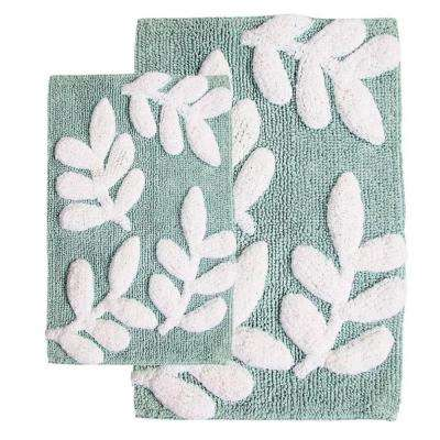 21 in. x 34 in. and 17 in. x 24 in. 2-Piece Monte Carlo Bath Rug Set in Moonstone and White