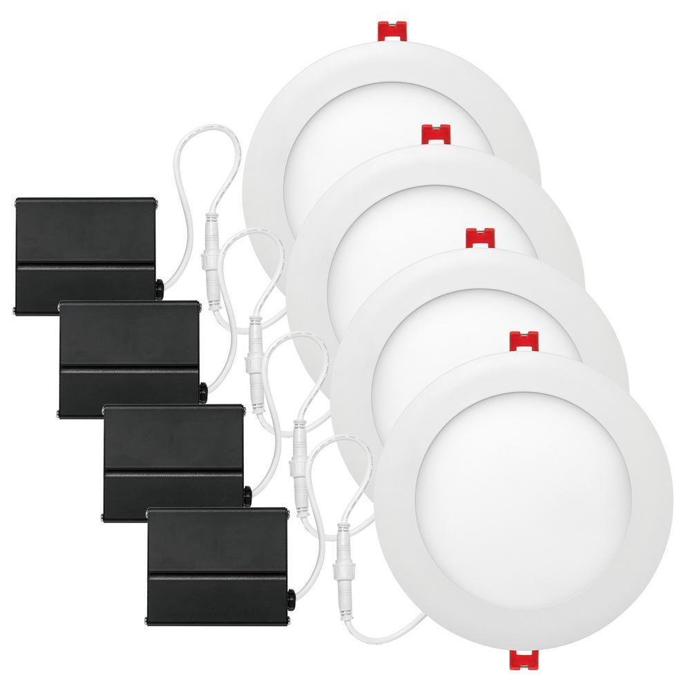Slimline 6 in. White Finish Integrated LED Recessed Kit (4-Pack)