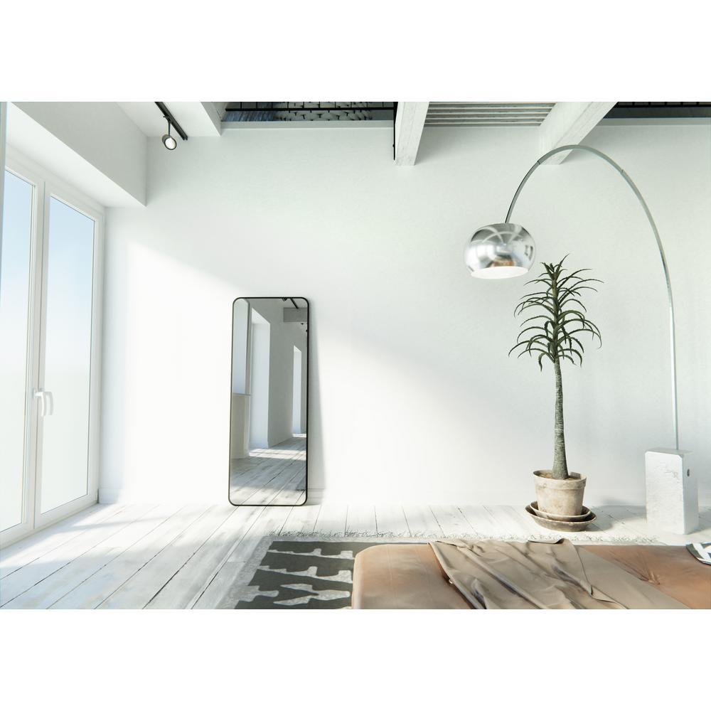 24 in. W x 67 in. H Framed Radius Corner Stainless Steel Mirror in Black