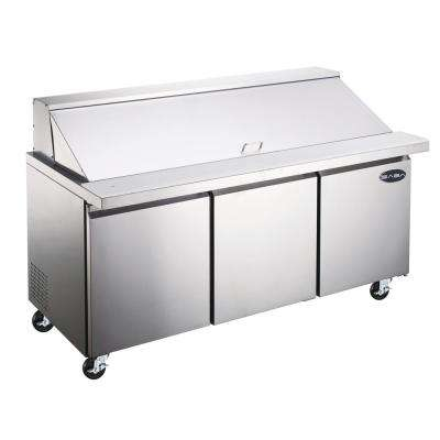 70.25 in. W 15.5 cu. ft. Commercial Mega Food Prep Table Refrigerator Cooler in Stainless Steel