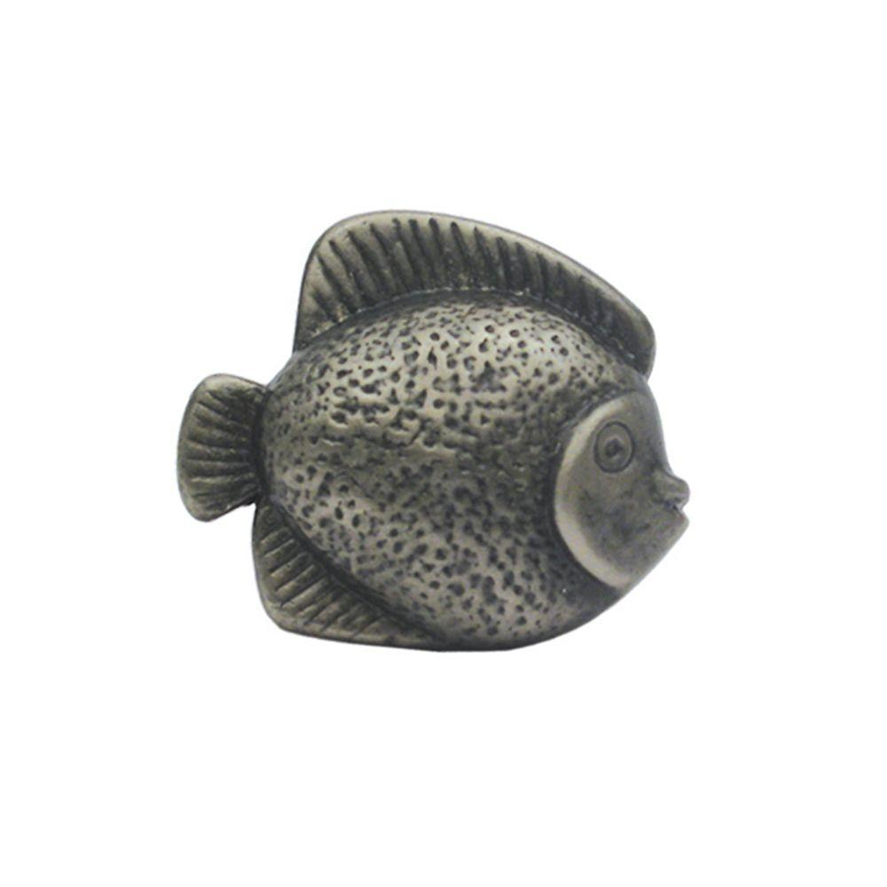 1-5/8 in. Pewter Fish Shaped Cabinet Hardware Knob