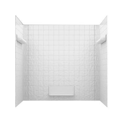 32 in. x 60 in. x 59.6 in. 5-Piece Square Tile Easy Up Adhesive Alcove Tub Surround in White