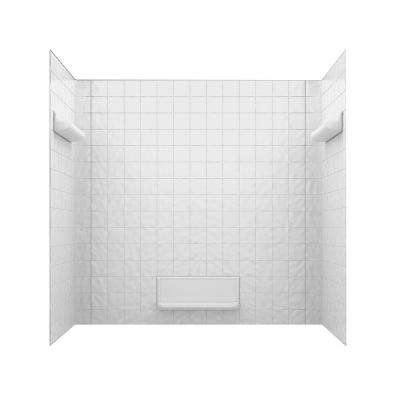 32 in. x 60 in. x 59-5/8 in. 5-Piece Easy Up Adhesive Tub Wall in White