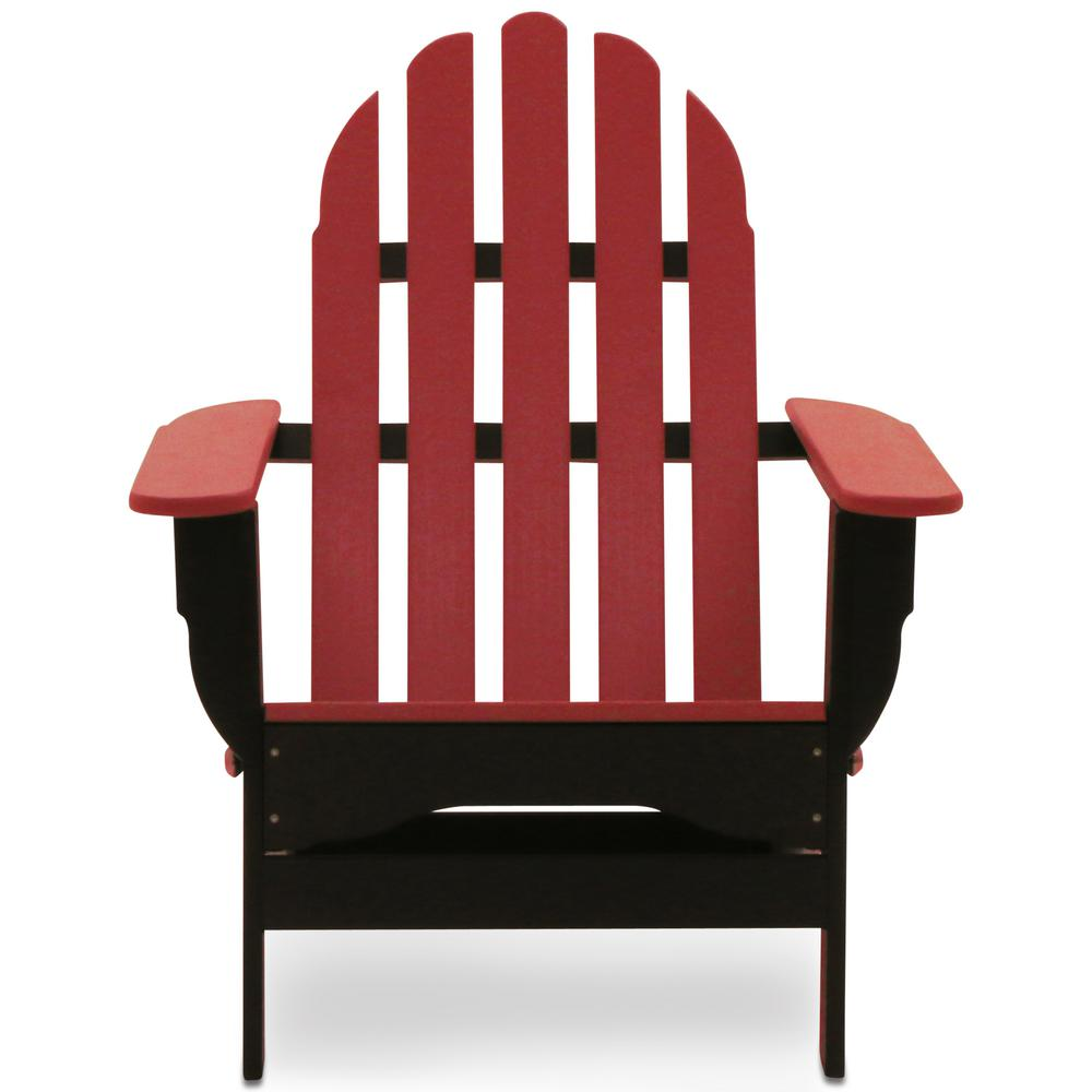 Icon Black and Bright Red Plastic Folding Adirondack Chair