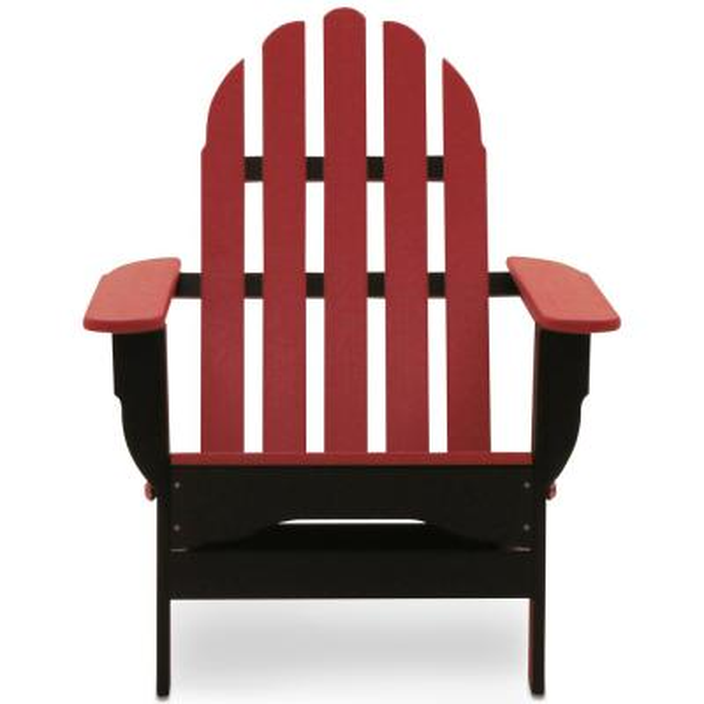 Icon Black and Bright Red Plastic Folding Adirondack Chair