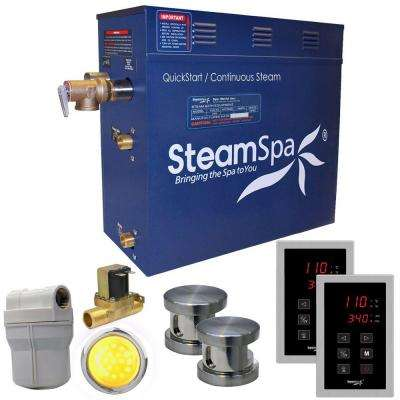 Royal 10.5kW QuickStart Steam Bath Generator Package with Built-In Auto Drain in Polished Brushed Nickel