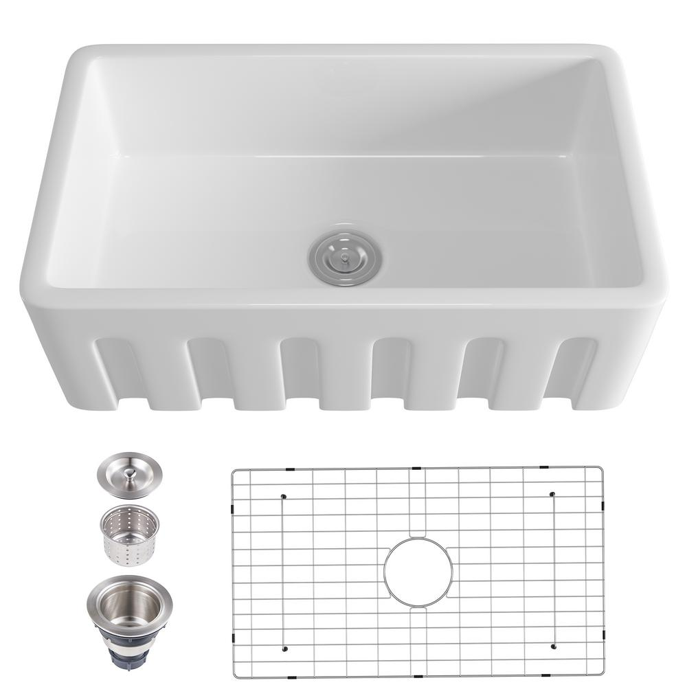 Eridanus Single Bowl Farmhouse Apron 38 In Vessel Sink White Porcelain Kitchen Sink Rectangular Sink With Grooves Jun Sink 016 The Home Depot